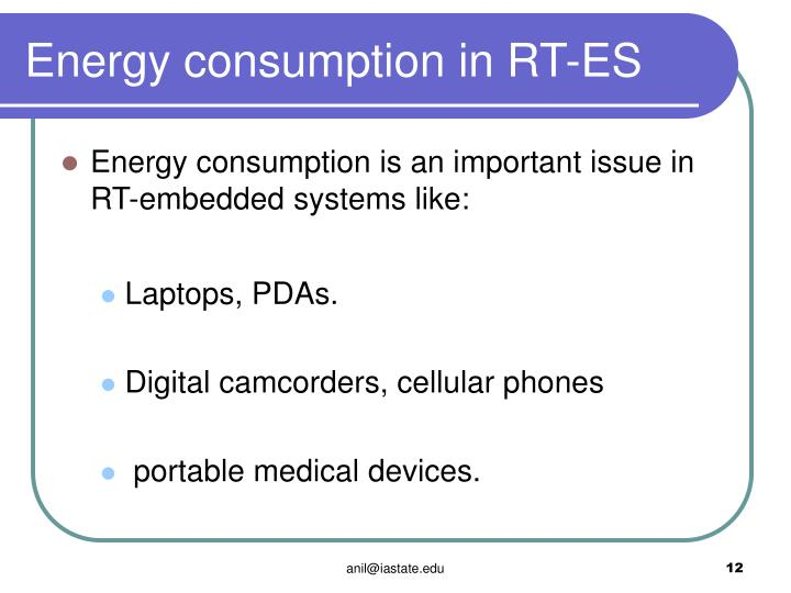 Energy consumption in RT-ES