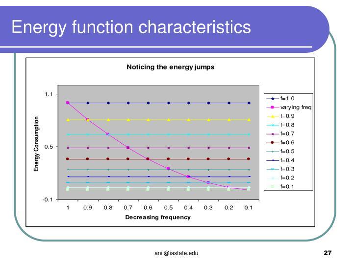 Energy function characteristics