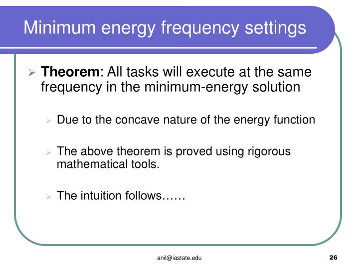 Minimum energy frequency settings