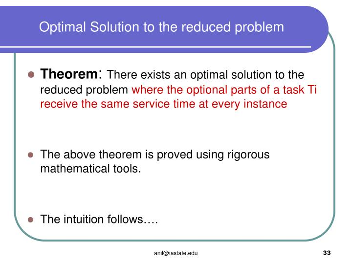 Optimal Solution to the reduced problem