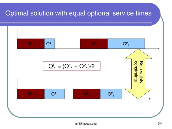 Optimal solution with equal optional service times