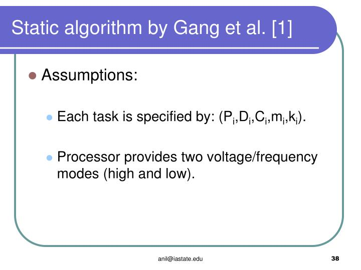 Static algorithm by Gang et al. [1]