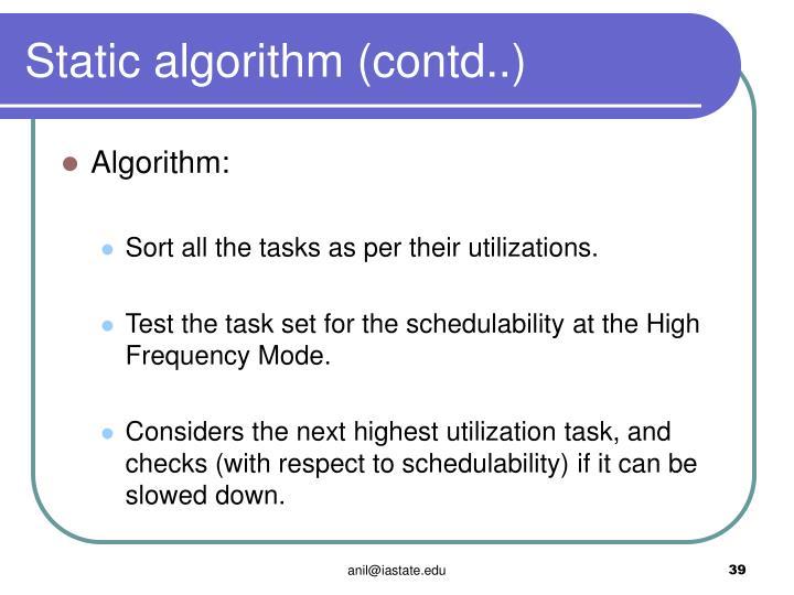Static algorithm (contd..)