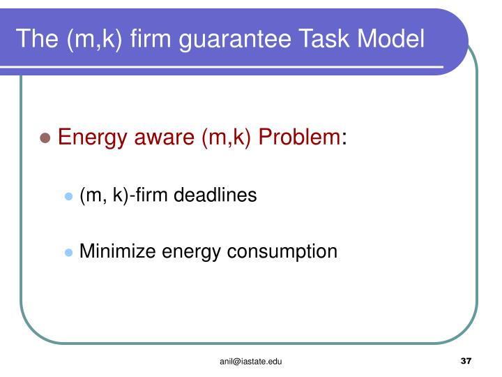 The (m,k) firm guarantee Task Model
