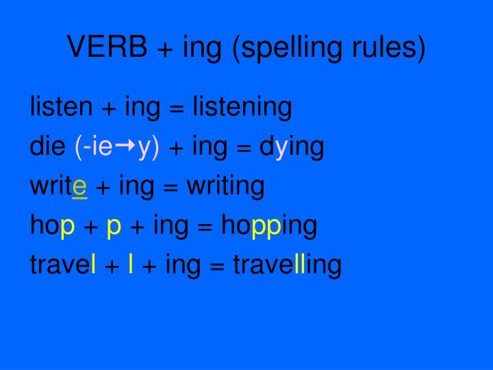 VERB + ing (spelling rules)