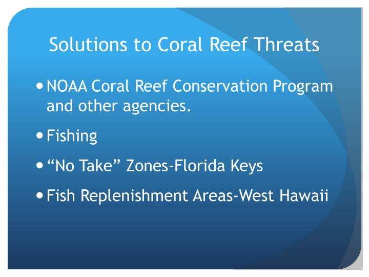Solutions to Coral Reef Threats