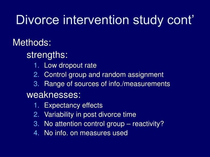 Divorce intervention study cont'