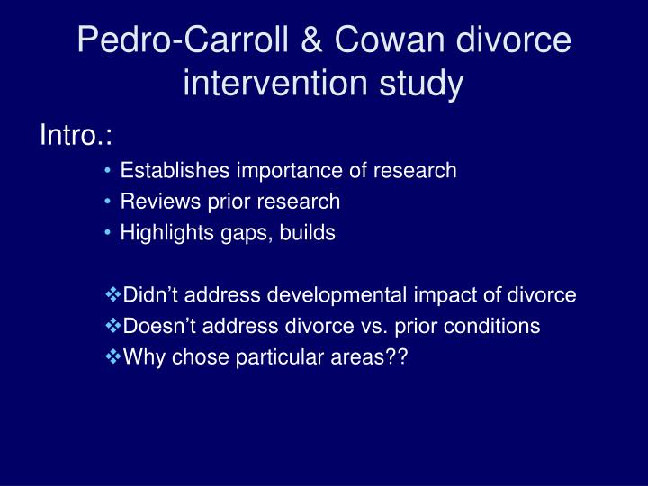 Pedro-Carroll & Cowan divorce intervention study