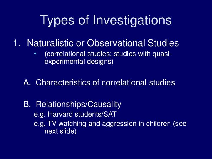 Types of Investigations