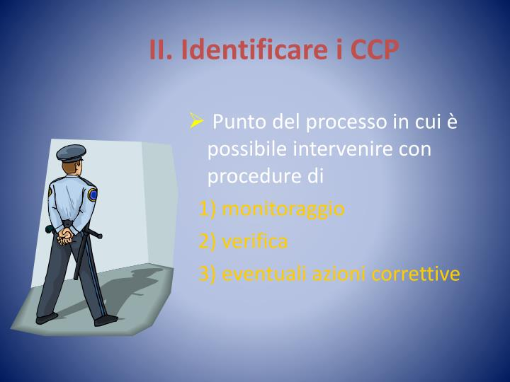 II. Identificare i CCP
