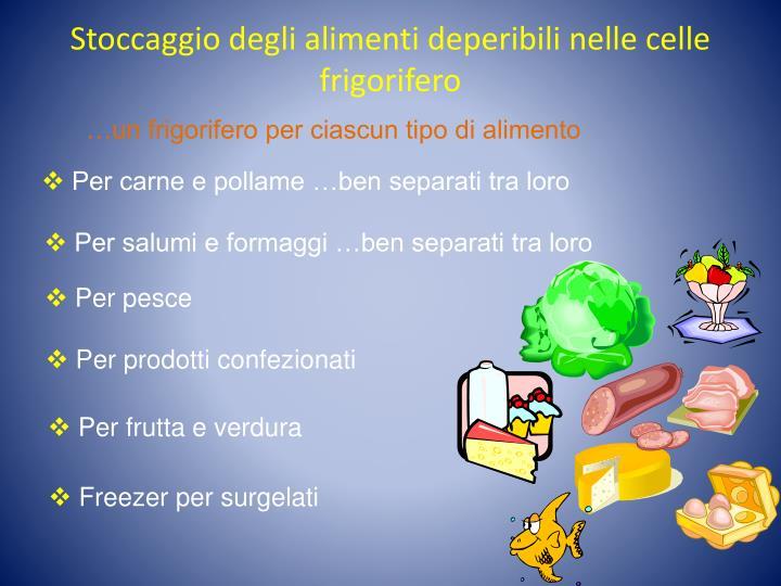 Stoccaggio degli alimenti deperibili nelle celle frigorifero