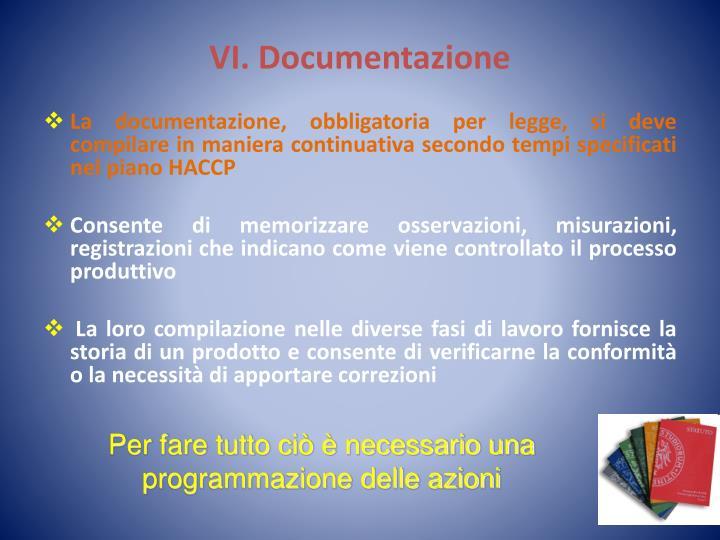 VI. Documentazione