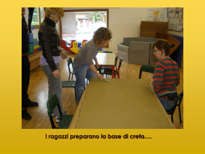 I ragazzi preparano la base di creta….