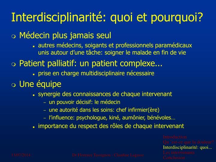 Interdisciplinarité: quoi et pourquoi?