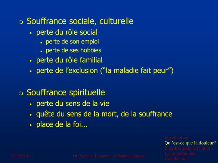 Souffrance sociale, culturelle