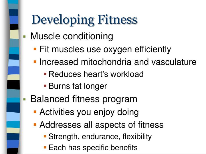 Developing Fitness