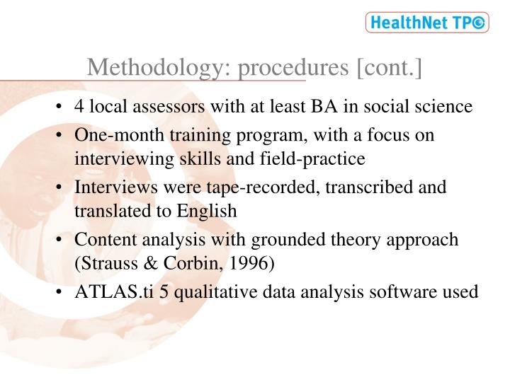 Methodology: procedures [cont.]