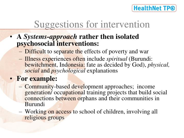 Suggestions for intervention