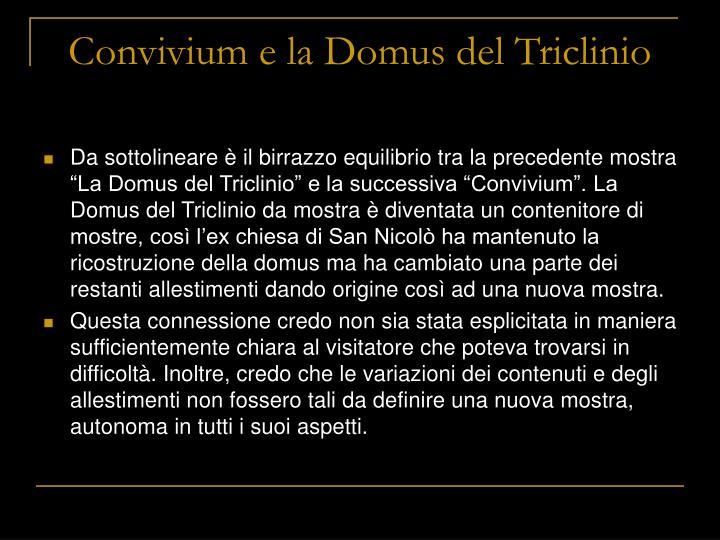 Convivium e la Domus del Triclinio