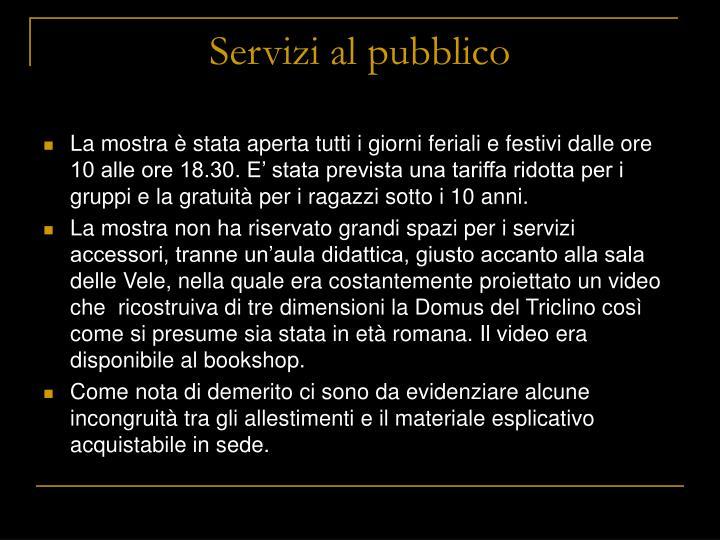 Servizi al pubblico