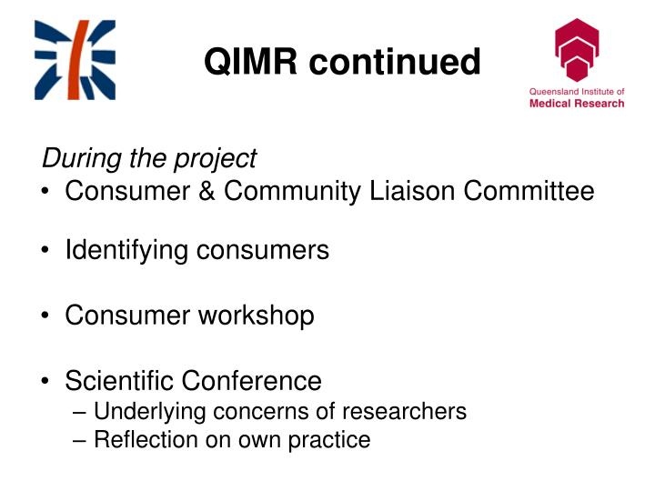 QIMR continued