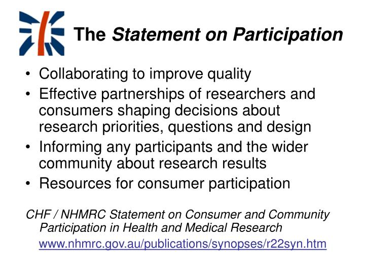 The statement on participation