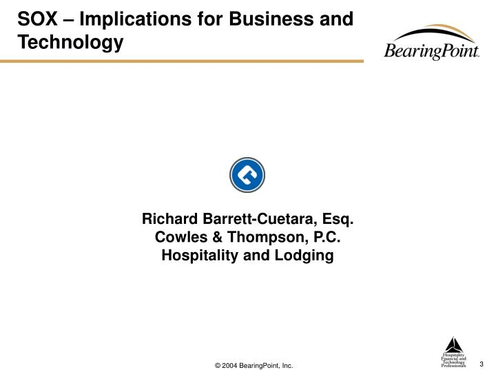 SOX – Implications for Business and Technology