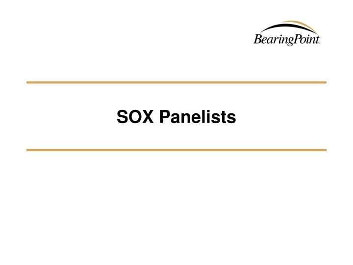 SOX Panelists