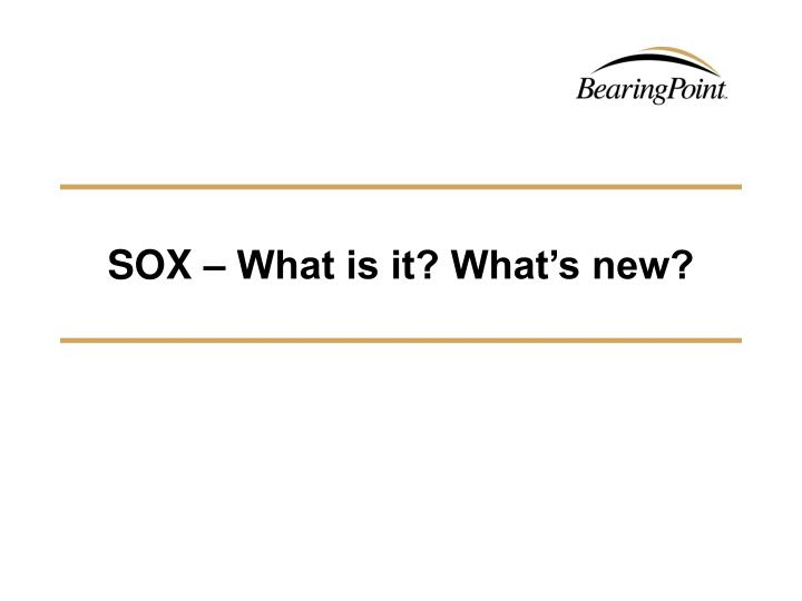 SOX – What is it? What's new?