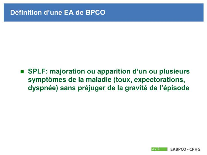Définition d'une EA de BPCO