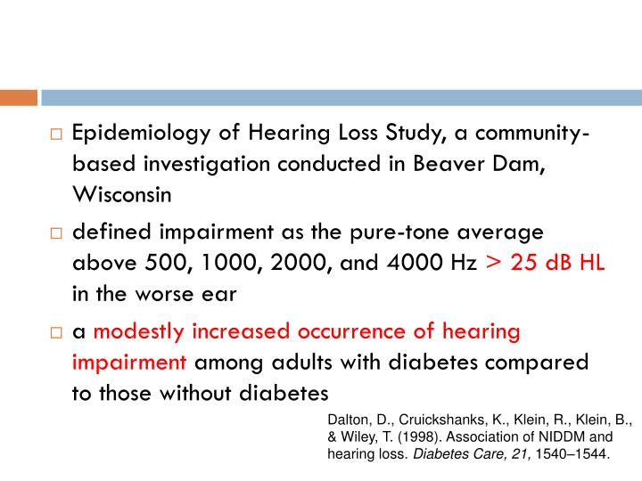 Epidemiology of Hearing Loss Study, a community-based investigation conducted in Beaver Dam, Wisconsin