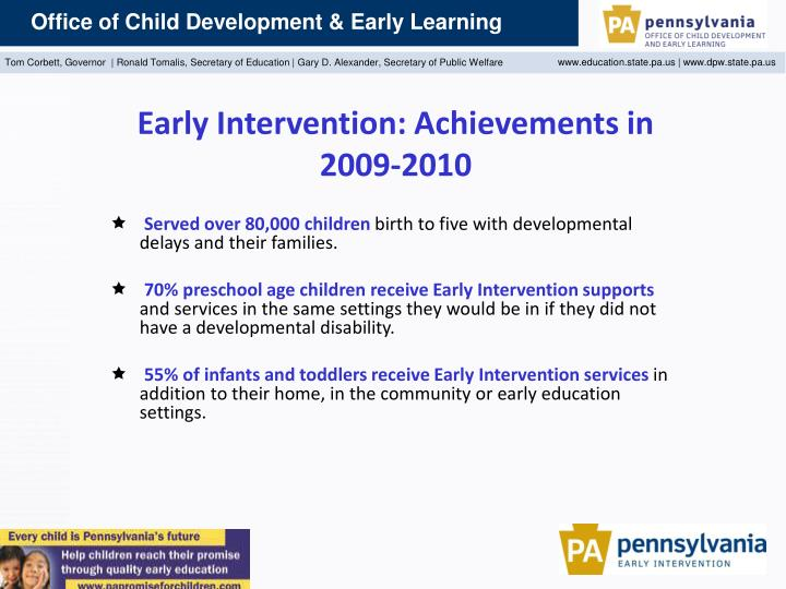 Early Intervention: Achievements in