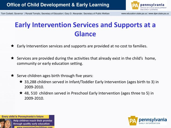 Early Intervention Services and Supports at a Glance