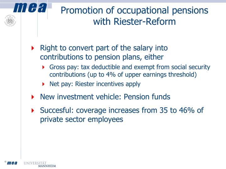 Promotion of occupational pensions with Riester-Reform