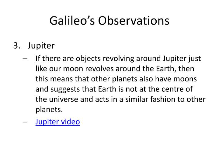 Galileo's Observations