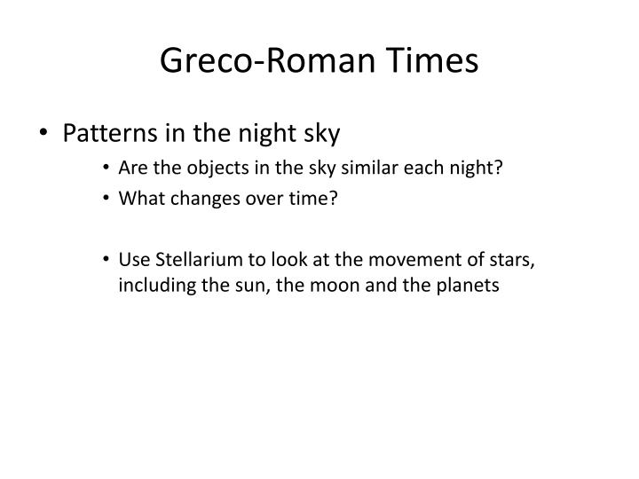 Greco-Roman Times
