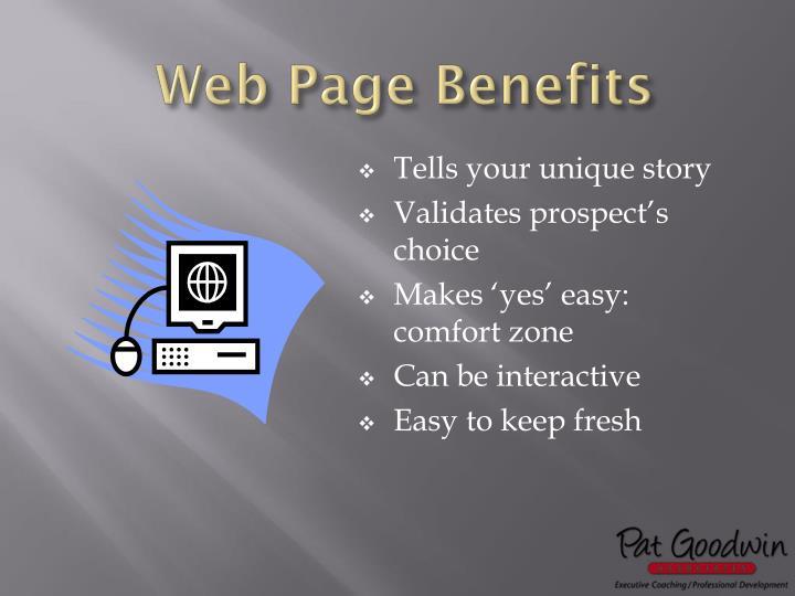 Web Page Benefits