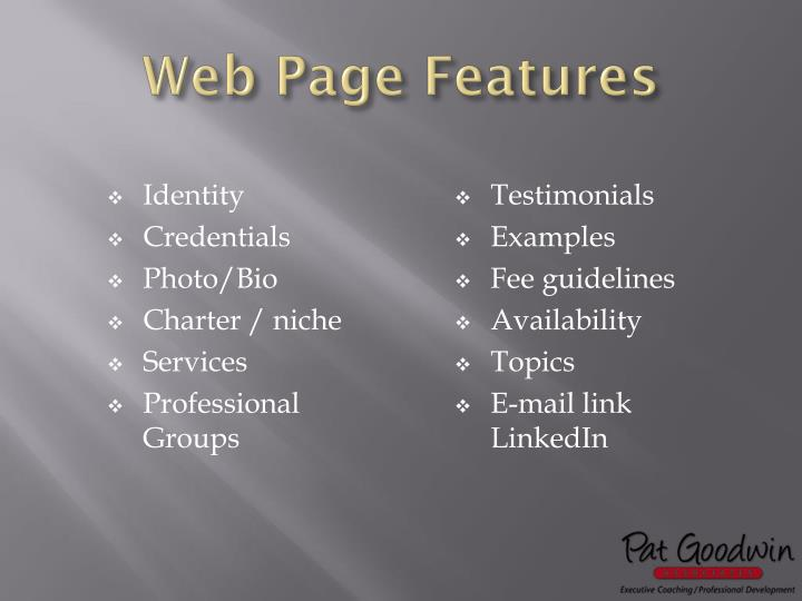 Web Page Features