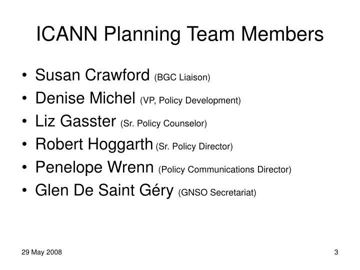 ICANN Planning Team Members