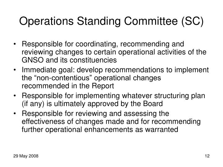 Operations Standing Committee (SC)