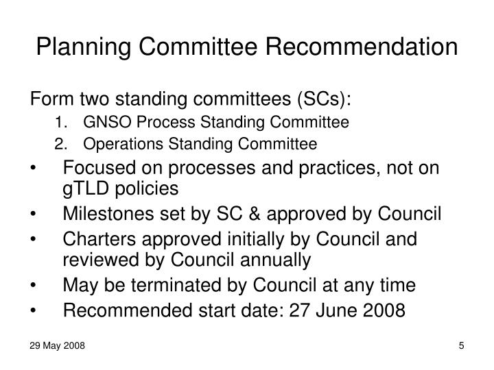 Planning Committee Recommendation