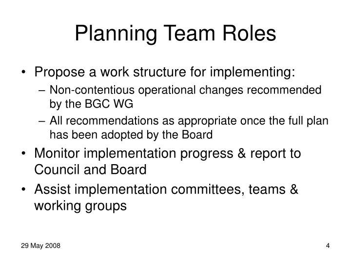 Planning Team Roles