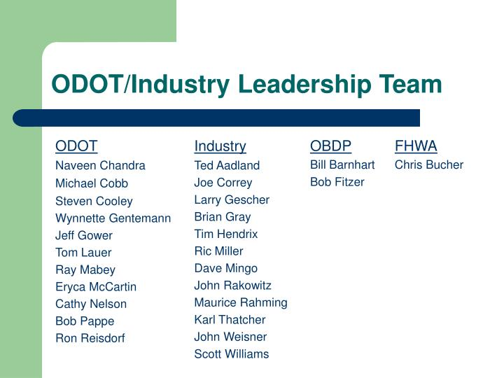 ODOT/Industry Leadership Team