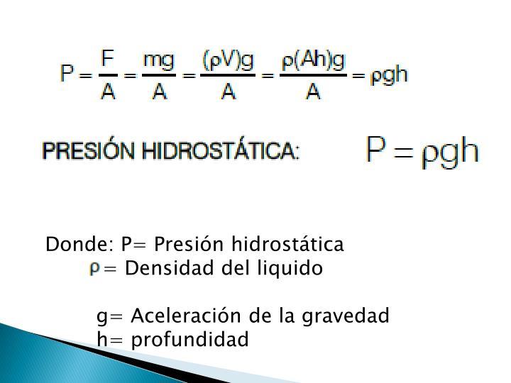 Donde: P= Presión hidrostática