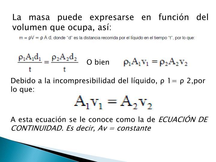 La masa puede expresarse en función del volumen que ocupa, así: