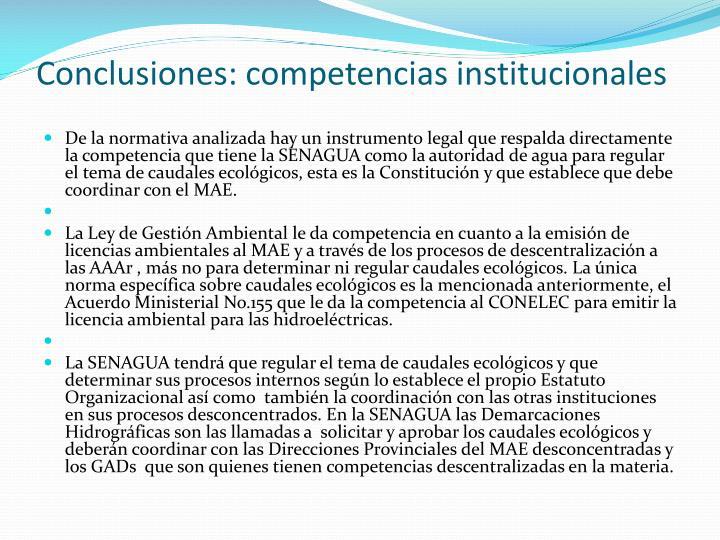 Conclusiones: competencias institucionales