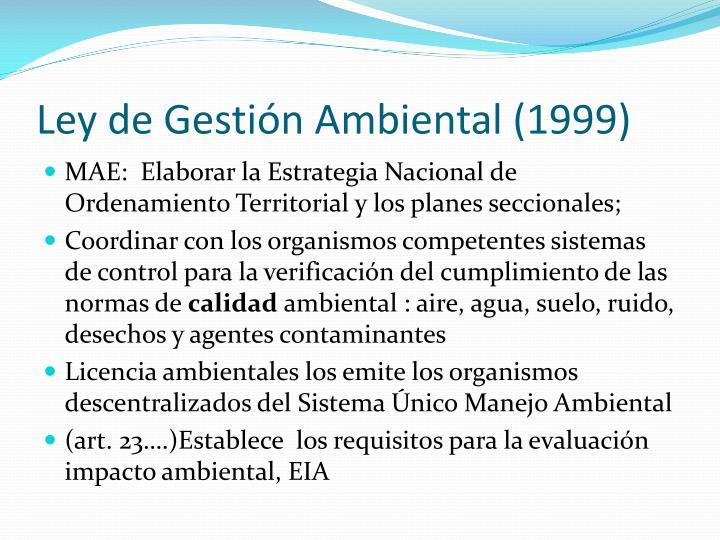 Ley de Gestión Ambiental (1999)