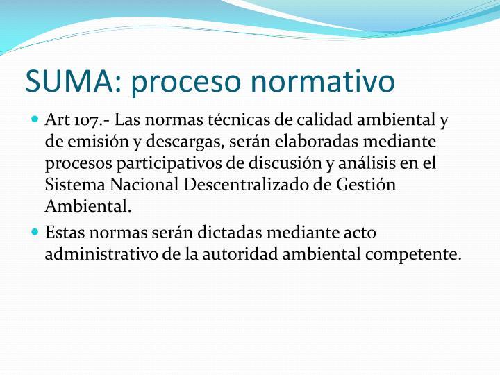 SUMA: proceso normativo