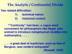 the analytic continental divide11