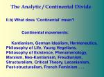 the analytic continental divide30